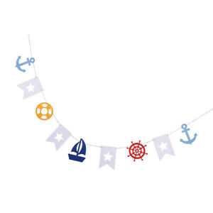 Nautical Felt Bunnting Banner Hanging Garland Baby Shower Decor Backdrop