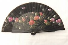 VINTAGE HAND HELD FAN PINK FLOWERS WOOD / SILK CONSTRUCTION (F107)