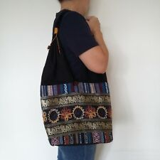 Black hippie sling hobo fabric shoulder bag with Thai elephant and flower style