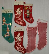 6 Vintage Felt Mesh Stenciled Painted Christmas Santa Elf On Shelf Stockings Lot