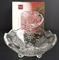 "Mikasa Snowflake Footed crystal bowl holiday classics 6"" SA 520-211"
