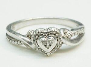 Beautiful / Diamond & Sterling / Dainty Heart Engagement Ring / Size: 6.75(3g)