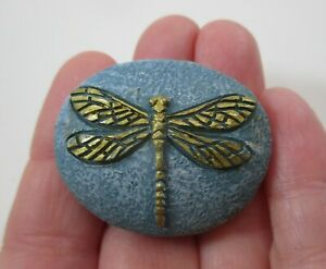 zzi E gold on blue ALWAYS THINK POSITIVE dragonfly stone ganz