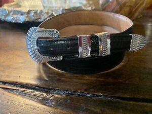 """James Reid Ltd Sterling Silver Belt Buckle Set  32-34-1.1/8""""✅"""