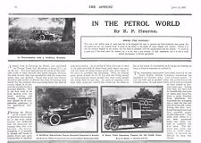 1917 ANTIQUE PRINT - WW1- MOTORING-6 CYL NAPIER, MOBILE OPERATING THEATRE