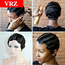 VRZ Short Body Wave Human Hair wigs None Lace Brazilian Hair Black Color Wigs