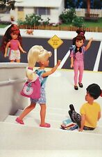 """"""" 1st Day at School """" Fashion Collectible Photo Card Mattel Barbie Doll Postcard"""
