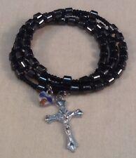 Hematite Rosary Bracelet Crucifix & Blessed Virgin Charm