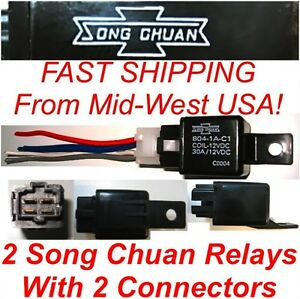 2 Song Chuan Power Relays & Connectors 804-1A-C1 30A Coil=12VDC FREE US SHIPPING