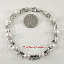 Genuine Natural White Cultured Pearl Bracelet w/ 925 Sterling Silver Links - TPJ