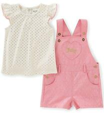 Juicy Couture Baby Girls 2Pc Gold Dot Top & Lace Shortall Set 0/3M 3/6M 6/9M