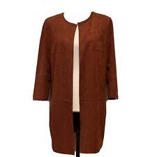 Chico's Size 1 Jacket Open Front Faux Suede Burnt Orange Patchwork Side Zip
