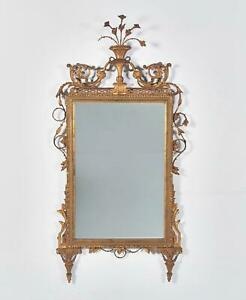 Antique 19th Century Carved Giltwood and Metal Italian Neoclassical Mirror