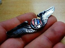 Vintage Grateful Dead Head Wings Skull Lightening Pin Badge Original Concert 80s