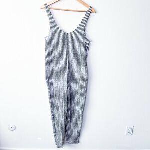 Zara textured striped sleeveless seersucker jumpsuit women size small casual