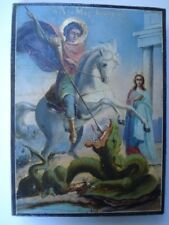 Late 19th Century Hand Painted Greek Icon- Oil Paint On Wood