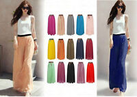 15Colors Girl Chiffon pleated Retro Long Maxi Skirt Dress Elastic Waist Skirt