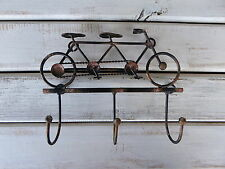 Tandem Bicycle = Metal 3 Prong = Jewelry Key Holder Scarf Rack = Bike Wall Hook
