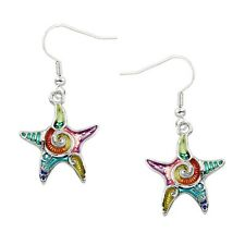Multi-Color Starfish Fashionable Earrings - Epoxy - Fish Hook - Silver Plated