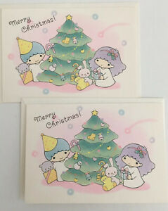 Vintage Sanrio Little Twin Stars Christmas Greeting Cards 1983 2 pieces HTF