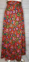 Vintage 60s Hippie Boho Maxi Skirt Heart Floral Design