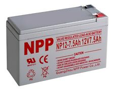NPP 12V 7.5 Amp 12 Volt 7.5 Ah UPS Sealed Lead Acid Battery Terminal F2