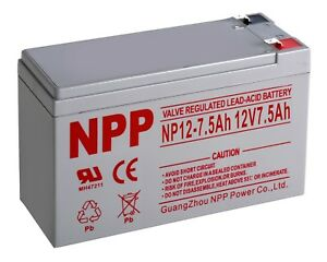 NPP 12V 7.5 Ah 12Volt AGM SLA Rechargeable Battery Razor Scooter /  F2