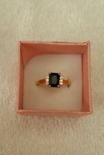 Artisan's Black Sapphire & Cz. Sz. 8  Ring set in 18 kt. Yellow Gold filled New