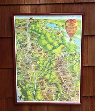 Vintage Napa Valley to Sonoma CA Wine Country Vineyard Tour Map Ron Morales 1982