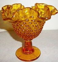 "FENTON AMBER HOBNAIL  FOOTED DISH WITH HANDKERCHIEF TOP 6"" EXCELLENT"