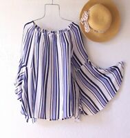 New~Blue White & Navy Cabana Stripe Peasant Blouse Spring Boho Top~Size Medium M