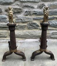 Antique Vintage Cast Iron & Brass Lion Fireplace andirons. Log Holder