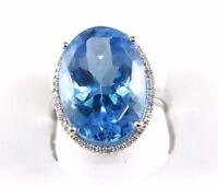 Huge Oval Blue Topaz & Diamond Halo Ring 14K White Gold 16.16Ct
