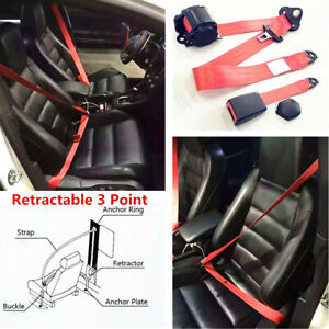 Universal Red 3 Point Adjustable Retractable Car Safety Straps Front Seat Belts