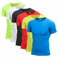 Mens Gym Compression Short Sleeve Sports Tight Shirts Fitness Base Layer Tops