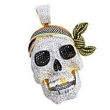 17.3CT COLOR DIAMOND PIRATE SKULL PENDANT 14K YELLOW GOLD HIP HOP