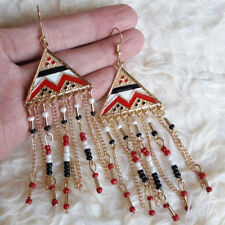 Womens Gold-Tone-Color Triangle Plate Chains Black White Red Hook Earrings #1474