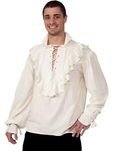 Natural Gauze Pirate Shirt Ruffled Renaissance Fancy Buccaneer Adult Costume  XL