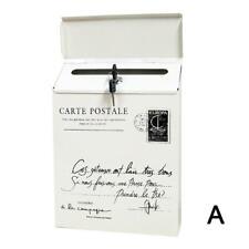 Retro Wall Mount Mailbox Mail Postage Letter Organizer Waterproof Box D8X8
