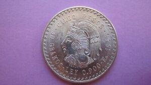 "1948 Mexico Silver 5 Cinco Pesos Coin ""Cuauhtemoc"" .900 Silver Nice Detail Look!"