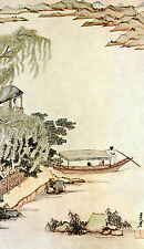 Framed Print - Vintage Asian Japanese Chinese Fishing Village (Picture Oriental)