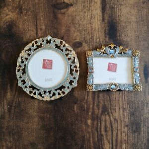 Set of 2 Gold & Blue Picture Frames - Russ