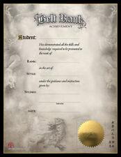 Martial Art Certificates - Belt Rank Achievement Certificates - Pack of 5