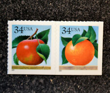 USA2001 #3491-3492 34c Apple & Orange - Attached Pair of 2 From Booklet Mint NH
