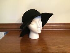 Vintage 1970's Ladies 100% Wool Hat w Wide Brim ~ One Size ~ Excellent Condition