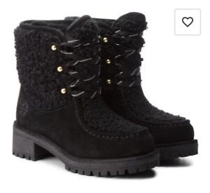 Tory Burch Meadow Boots, Black, Suede & Shearling, US10