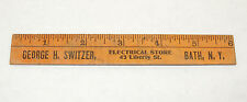 Wooden Advertising Ruler George Switzer Electrical Store Bath NY  (12420)