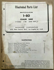 McCulloch 1-80 Chain Saw Illustrated Parts List 1959