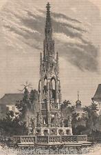 Antique print:fountain Prague Czech Republic 1860