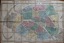 RARE Antique Map - Original 1867 Ledot Folding Color Map of Paris, France